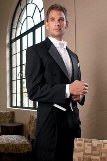 1-1 Black Tailcoat Groom Jacket+Pants+Bowtie Vest custom Men Wedding Suits Tuxedo
