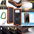 Waterproof 300000mAh Portable Solar Charger Dual USB Lamp Battery Power Bank