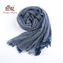 2018, 90% хлопковый женский шарф, однотонные Винтажные льняные мужские шарфы, плиссированный платок, Женская шаль, шифоновый хиджаб с кисточками, палантины