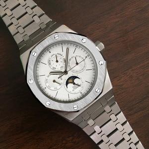 Image 3 - ساعة أوتوماتيكية للرجال ساعة ميكانيكية فاخرة ماركة فاخرة ذكر القمر المرحلة الغوص التقويم ساعة اليد مقاوم للماء