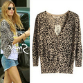 Nueva Venta de La Manera Mujeres Cardigan Mujer Leopardo Delgado de Punto de Ganchillo Blusa Sweater. q0980