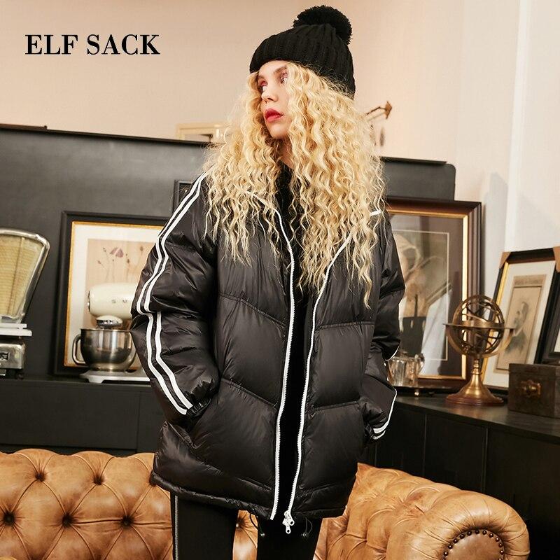 ELF SACK Winter Warm Coat Ultra Light Duck Down Jacket Woman Duck Down Long Sleeve Warm Jacket Casual Jackets Winter Coat