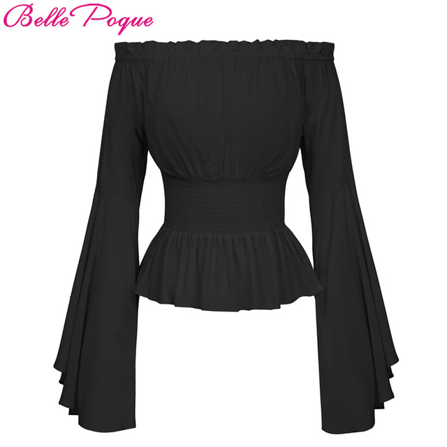 Belle Poque Sexy Off Shoulder Womens Tops Retro Vintage Renaissance Gothic Blouse femme Women Victorian Long Bell Sleeves Shirts