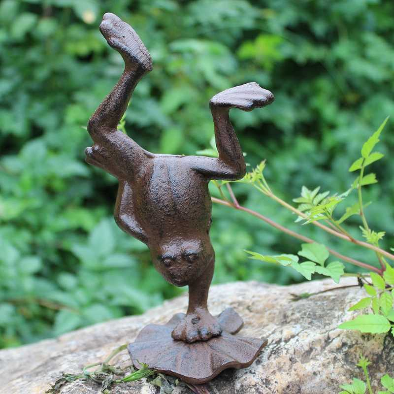 W stylu Vintage ogród wystrój domu żeliwa żaba rysunek statua