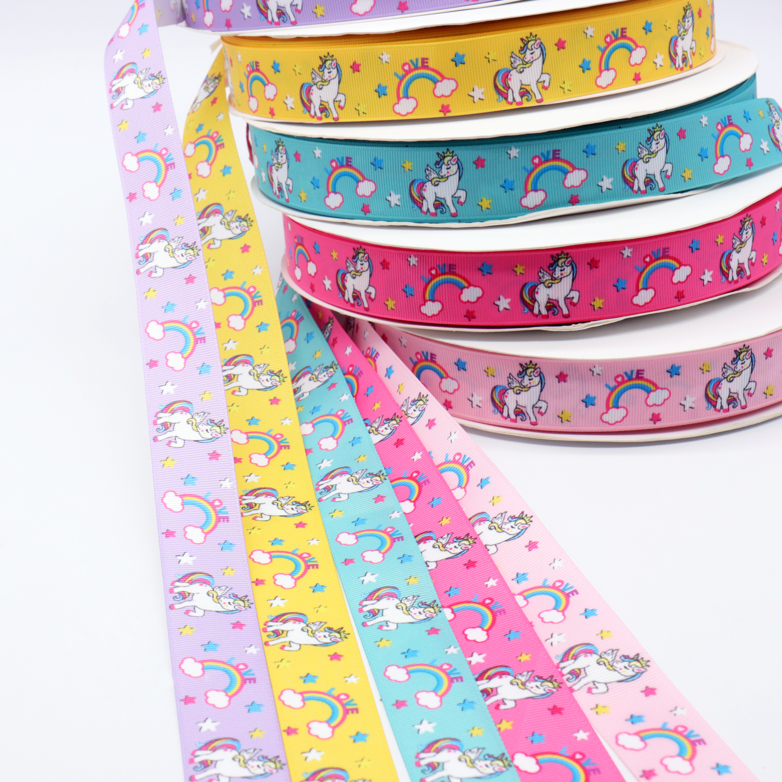 1Yard 25mm Unicorn Grosgrain Ribbon Rainbow Star Printed Ribbons For DIY Hair bows Accessory Gift Wrapping Wedding Party Decor
