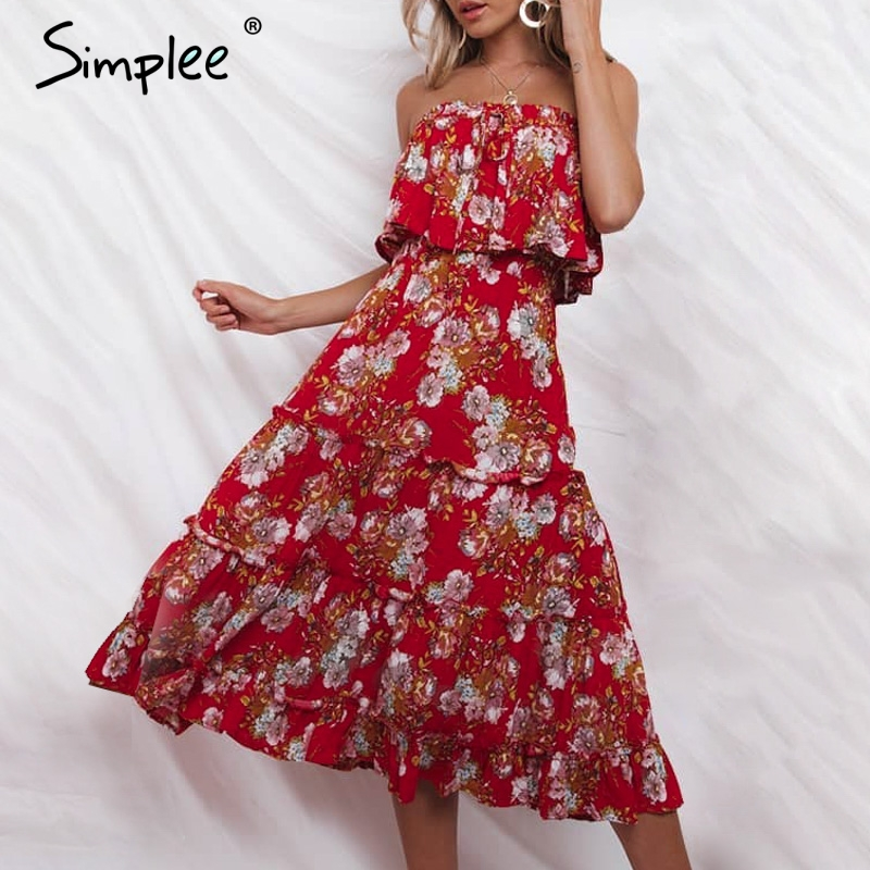 Simplee Boho Floral Print Women Dress Strapless Lace