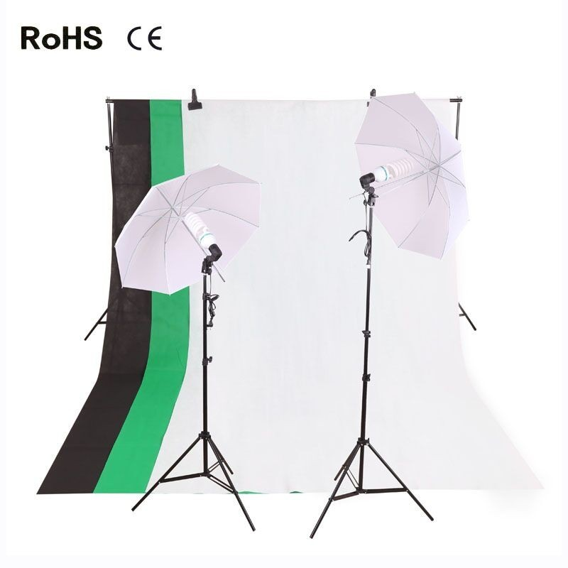 Photography Studio Set:33-inch Translucent Soft Light Umbrella&135w photography bulb&Cotton Backdrop(3 color)&Clamps