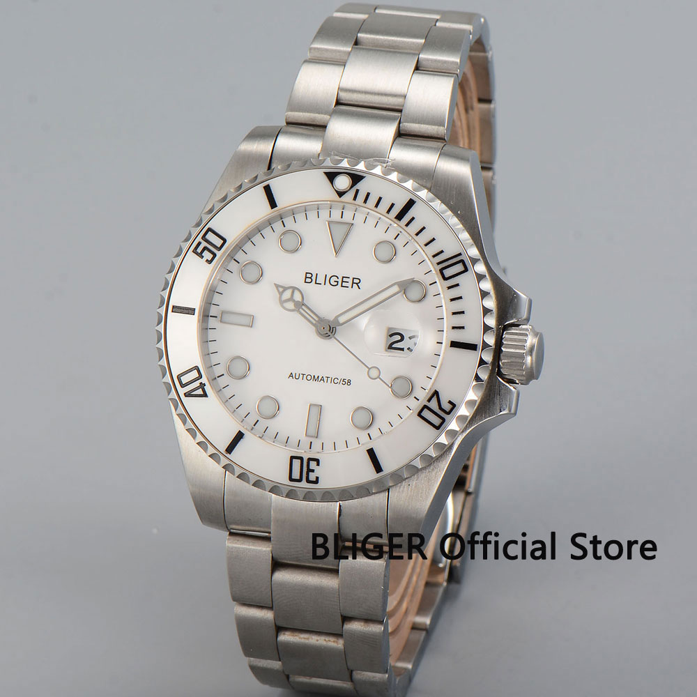 Sapphire Crystal BLIGER 43MM White Dial Ceramic Bezel Luminous Marks Date Magnifier Japan Miyota Automatic Movement Mens WatchSapphire Crystal BLIGER 43MM White Dial Ceramic Bezel Luminous Marks Date Magnifier Japan Miyota Automatic Movement Mens Watch