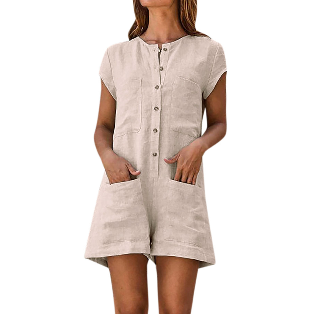 Women Solid Jumpsuits Buttons Front Round Neck Short Sleeve Casual Playsuits Lady Summer Pocket Loose Romper #10 Women's Clothing