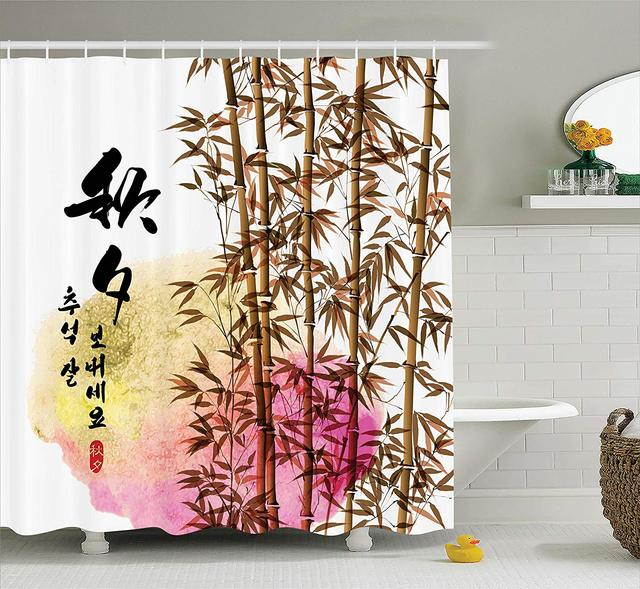 Bamboo Shower Curtain Bamboo Painting With Japanese Words In Mid