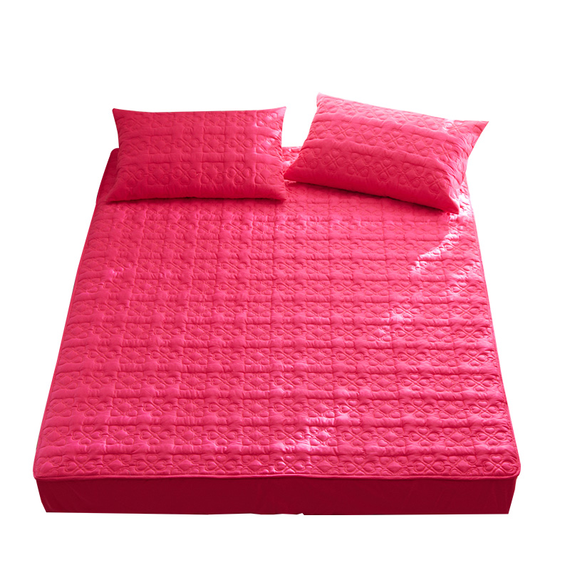 Bright Red 100% Cotton Quilted Waterproof Fitted Crib Mattress Pad Covers Fitted Sheet Set 3pcs Pillowcase Bedding Set 3pcs Soft