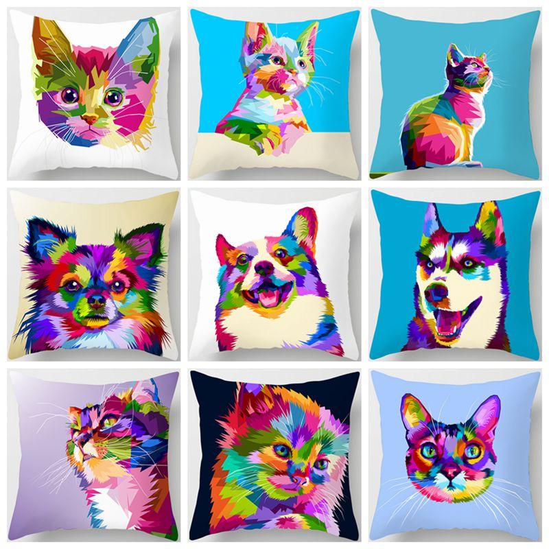 Colorful Animal Cushion Cover Lovely Cat Dog Giraffe Zebra Lion Pillow Cover Polyester Pillow Case Home Decor