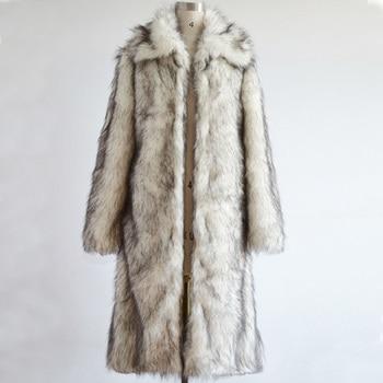 2018 new men's winter faux fur jacket Black white square collar long windbreaker Fox thick warm fashion man leather fur coat