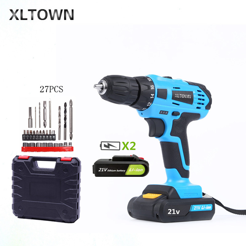 купить XLTOWN 21V hand Electric drill Rechargeable lithium battery electric screwdriver cordless Electric drill Power Tools with 27pcs недорого
