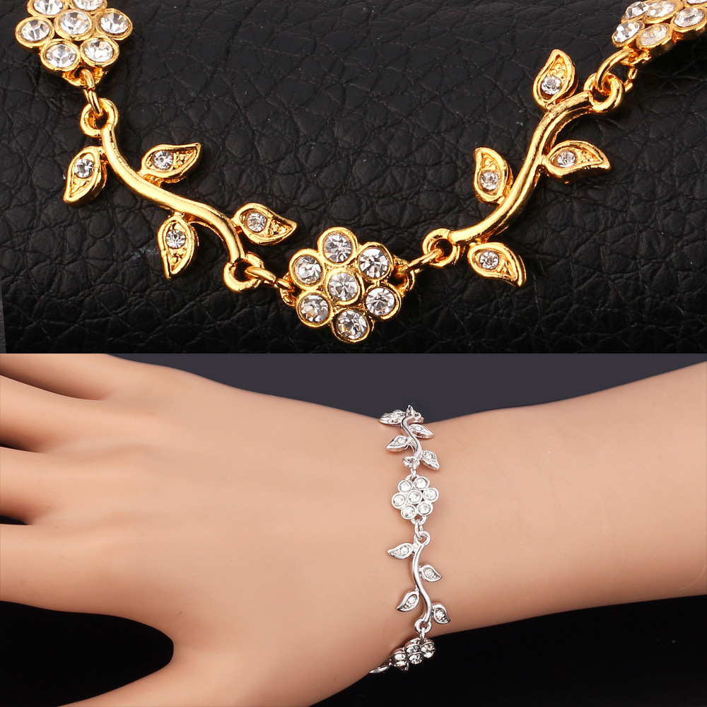 U7 Crystal Flower Leaf Charm Bracelets Gold Color Chain Rhinestone Bracelet Bangles Cute Jewelry For Women Gift H380 In From