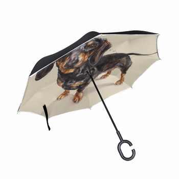 ความปรารถนา Dachshund พับร่มย้อนกลับ Double - Deck Inverted Windproof ฝนรถร่ม C ผู้ถือขาตั้งร่มสุนัข