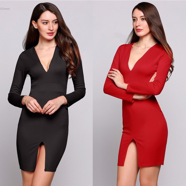 Plus Size Spring Beautiful And Cheap Dresses Long Sleeve Plunge Collar  Bodycon Sexy Dress Split Hem Solid Going Out Slim Dress f596119db534