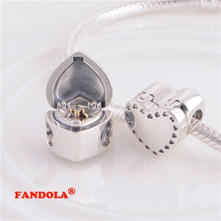 Pandora Charms Bilezikler için uygun Kalp Boncuk 14 K Altın Kaplama - Takı - Fotoğraf 1
