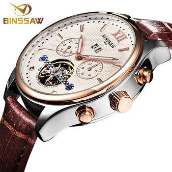 BINSSAW Men Automatic Mechanical Watch Tourbillon Luxury Men Business Leather Wrist Watches waterproof fashion Mechanical Watch