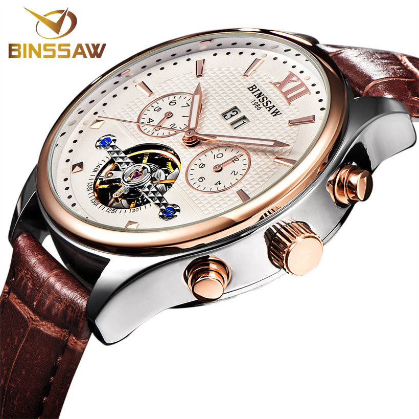 BINSSAW Tourbillon Automatic Men Mechanical Watch Luxury Mens Business Leather Wrist Watches Male Clock Rose Gold Reloj Hombre женский кардиган 013a56