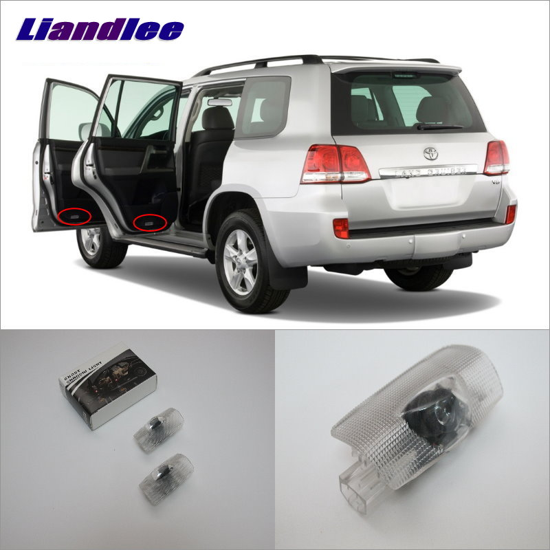Liandlee Car Door Welcome Light Shadow LED Projector Logo For Toyota Land Cruiser 2003~2015 Courtesy Lights Accessories Parts for skoda octavia led 3w welcome car door logo lights projector laser ghost 3d shadow accessories original door light replace