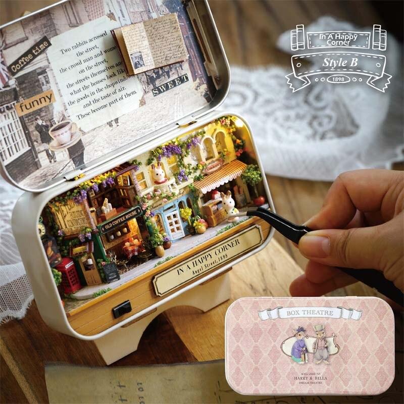 In Ein Glückliches Ecke 3D Holz DIY Handgemachten Box Theatre Dollhouse Miniature Box Nette Mini Puppenhaus Montieren Kits Geschenk spielzeug