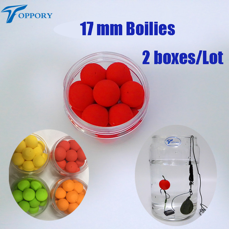 Toppory 2PCS/Lot 17mm Big Floating Carp Fishing Boilies Flavoured Pop Up Artificial Grass Carp Bait Hair Rigs Terminal Tackle toppory 2 boxes lot 30 pcs box 12mm pop up boilies for carp fishing floating ball artificial bait boilies lake river diy bait