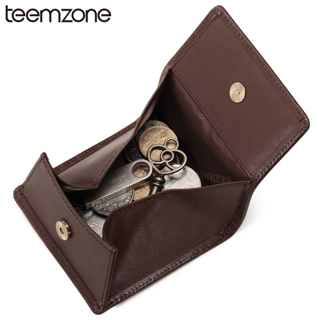 teemzone New Minimalist Style Genuine Leather Wallet FashionVintage Case Wallet Cover For Men's Coin Small Wallet 2 Colors K856