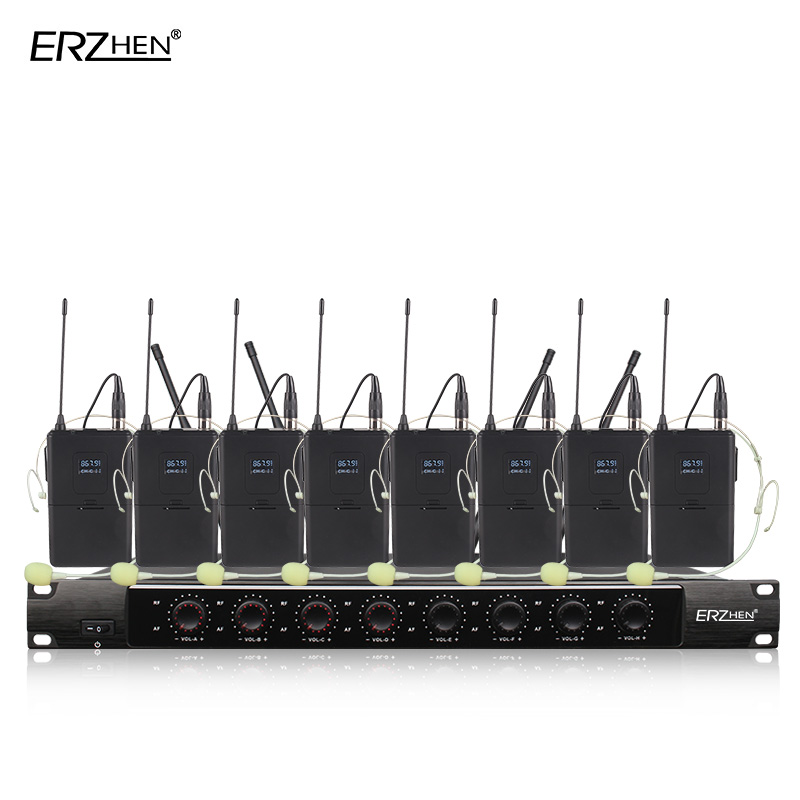 Micrófono profesional SystemX-8600 inalámbrico 8 canales VHF profesional 8 micrófono invisible escenario Karaoke MICRÓFONO INALÁMBRICO