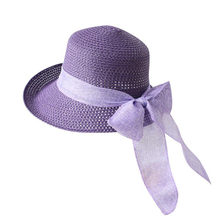 Alta calidad hecha a mano sombrero de paja Sombreros de Panamá para las  mujeres moda Bow 41c8f592be8
