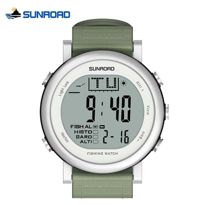 SUNROAD Fishing Watch Weather Forecast Altimeter Barometer Thermometer Outdoor Climbing Watch Waterproof Men Woman Sports Watch