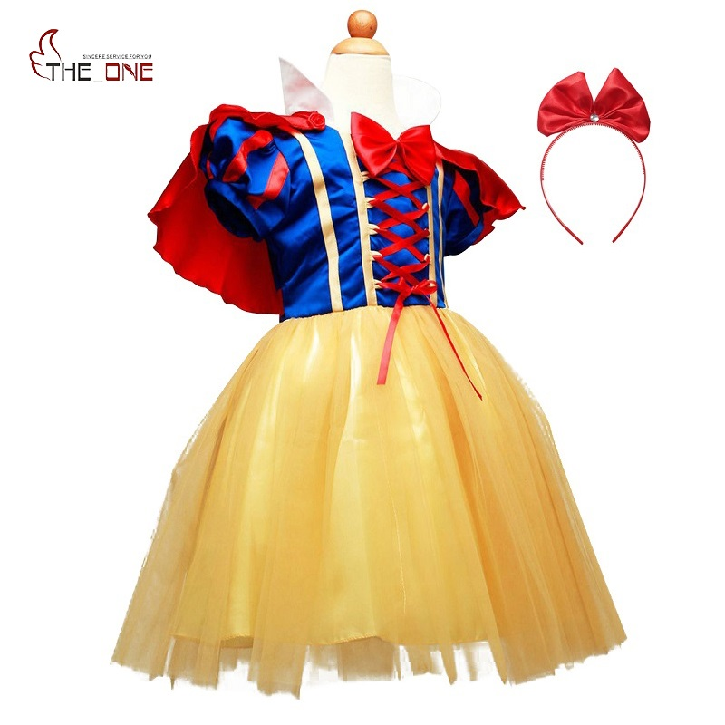 MUABABY Girls Snow White Dress Up Clothes Girl Short Sleeve Princess Costume with Cape Hallowee Kids Cosplay Party Bow Dresses цены онлайн