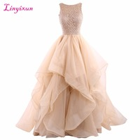 Linyixun Real Photo 2017 Ball Gown Lace Prom Dresses Scoop Neck Sleeveless Backless Tiered Evening Dresses Custom Made