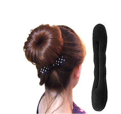 22CM Solid Black Nylon Sponge Taenia Hair Donut Hair Accessories Device Quick Messy Bun Hairstyle Hats A237-3