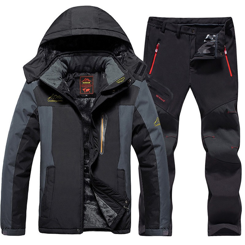 Winter Men Ski Jackets suits Waterproof Thermal Fleece Jackets + soft shell Pants Outdoor Hiking Camping Snowboard Thicken Warm hot 2017 outdoor winter thicken villi thermal ski wear warm waterproof can remove bladder mountain climbing hiking jackets men