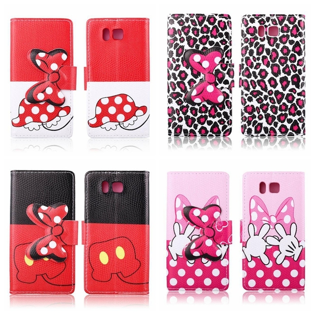 huge selection of 7bc76 9e359 US $22.99 | Mickey Minnie Mouse Bowknot PU Leather Wallet Cover Leather  Case for Samsung Galaxy Alpha G850 stand cover with card slot on ...
