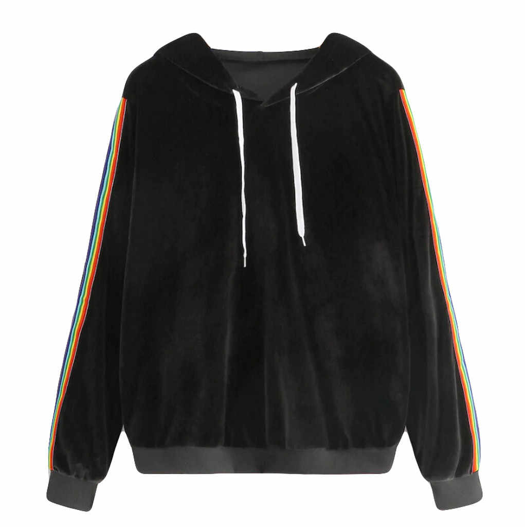 Women's Rainbow Stripe Hooded Sweatshirt Fashion Casual Clothes Ladies Simple Loose Pullover Coat Oversized Hoodie Moletom /PT