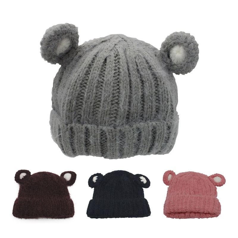 Cartoon Kids Winter Hats with Ears Solid Color Knit Baby Cap Boys Girls Beanie for 2-5 years Multicolor 1 PC