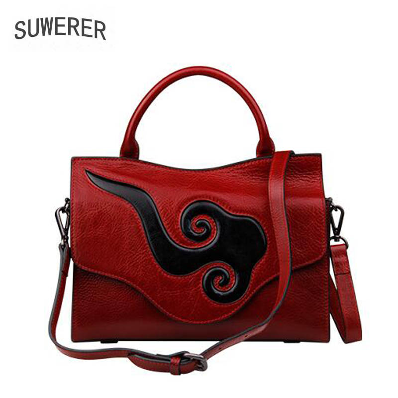 SUWERER 2018 New Cowhide Women Genuine Leather bags women bag fashion luxury Embossed bag women leather clutch bag