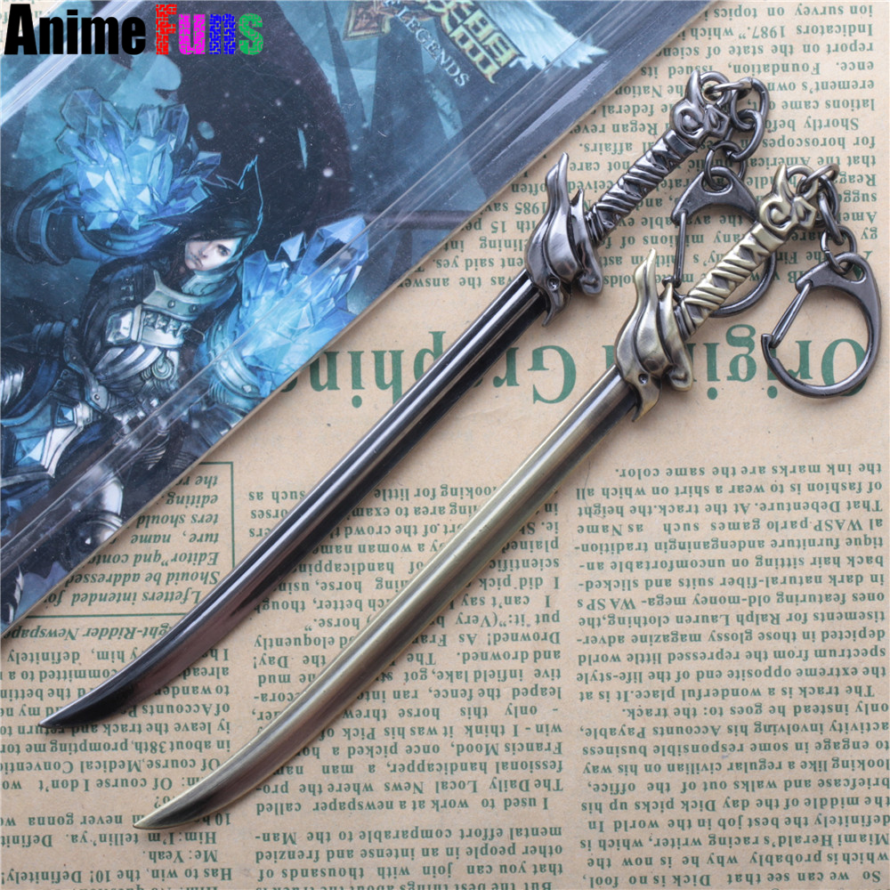 15cm Game League of Legends Weapon Keychain LOL Wind The Unforgiven Yasuo Sword keyring For Men Charm Gift drop-shipping