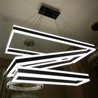 Acrylic Modern Led Chandelier Lighting Square Black Iron Lamps For Home Living Room Ceiling Lustre Ring Chandeliers 110V 220V