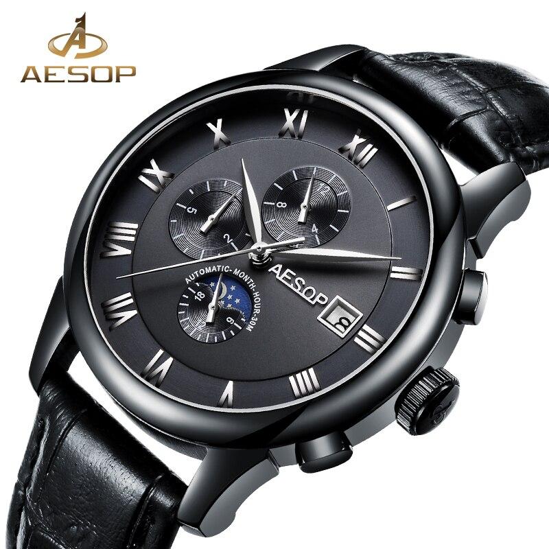 AESOP montre mécanique automatique hommes marque de luxe bracelet en cuir noir montres bracelet montre-bracelet homme horloge hommes Relogio Masculino