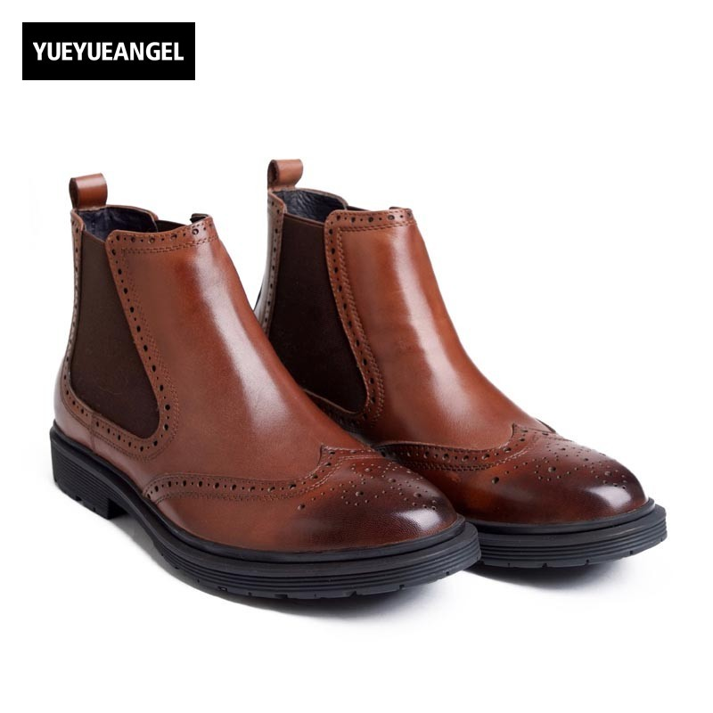 2018 NEW Brogue Mens Office Work Chelsea Boots Wing Tip Slip On Genuine Leather Male Top Ankle Boots Business Party Casual Shoes womens linen casual blazers elegant autumn office business outwear jacket top blazer half sleeve single button slim wear to work