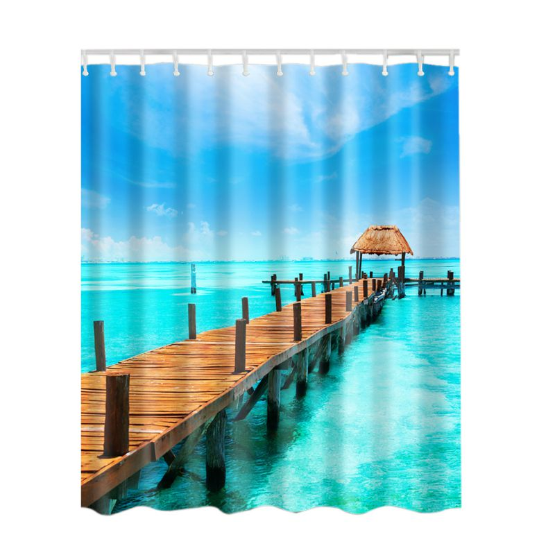 Spa Waterproof Shower Curtain Bathroom Decor Blue Ocean Seaside Scenery Sunset Waves Lakeview