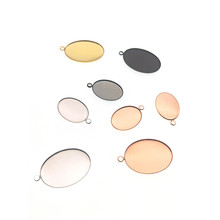 20pcs Silver Color Necklace Pendant Setting Cabochon Blank Tray Bezel for 13*18mm,18*25mm Oval Glass Cabochon DIY Jewelry Making