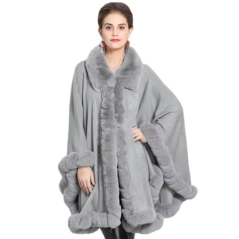 Fashion Luxury Handwork Rex Rabbit Fur Cardigan Coat Cape loose Long Cashmere Shawl Full Trim Faux Fur Cloak Lapel Overcoat 2019