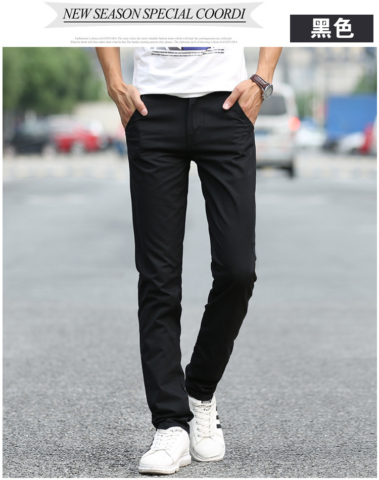 Business Casual Pants 11 Colors New Casual Pencil Pants Men Slim Pant Straight Trousers Solid Leisure Zipper Spring Summer k919 16