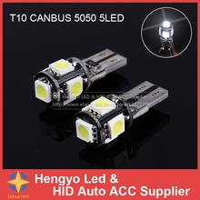 цена на Free Shipping Error Free Bulbs 10pcs/Lot Canbus T10 5smd 5050 LED car Light Canbus W5W 194 5050 5SMD Car Styling Parking Light