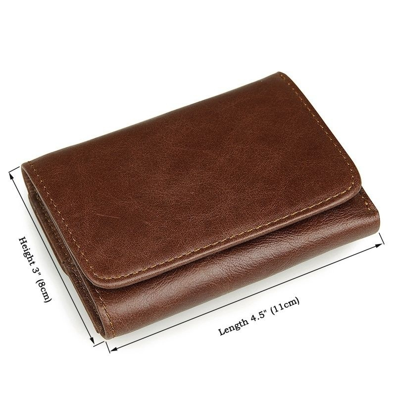 NEW HIGH QUALITY Genuine Leather retro men wallets RFID Blocking Trifold Wallet men Short Vintage Purse Card Holder brand in Wallets from Luggage Bags