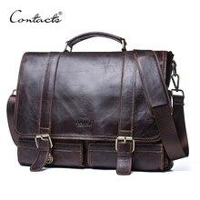 CONTACT'S Мужской роскошный кожаный портфель для ноутбука, в винтажном стиле мужские сумки на ремне большая емкость